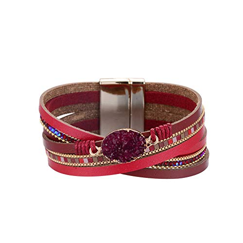 (Multilayer Leather Bracelet Handmade Crystal Wrap Bangle with Magnetic Clasp Leather Wrap Bracelet Bohemian Jewelry Gift for Women and Girl (red Leather&Natural)