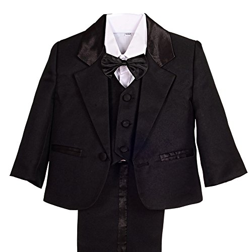 Dressy Daisy Baby Boy' 5 Pcs Set Formal Tuxedo Suits No Tail Wedding Christening Outfits Size 3 Months Black by Dressy Daisy