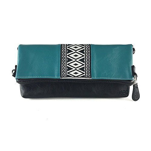 K&Bo Women's Cross Body Bag and Clutch with Boho Style Embroidery, Teal /Black/Brown