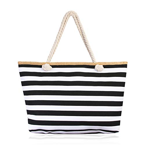 - Versatile Fabric Tote Bag - Eco Shopper Beach Canvas Reusable Travel Handbag Stripe/Animal/Flag Print (Nautical Stripes - Black)