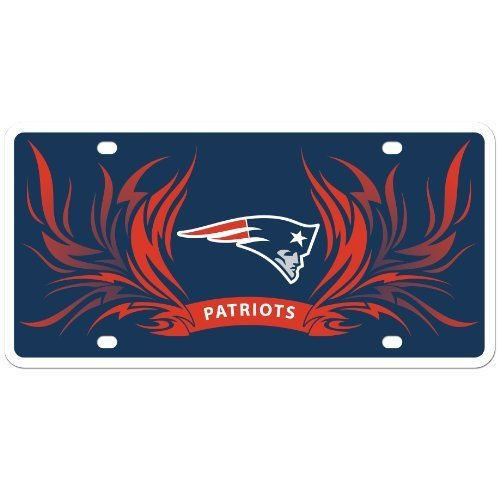 New England Patriots Flame License Styrene NFL Plate Car Sign Tag Officially Licensed NFL Merchandise by Siskiyou by Sisiyou