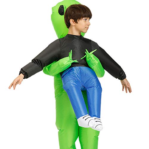 Green Alien Carrying Human Costume Inflatable Funny Cosplay Costume for Party