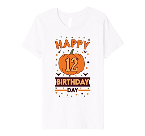 Kids Happy 12th Birthday Pumpkin Halloween Shirt Girls Boys Gift 12 White
