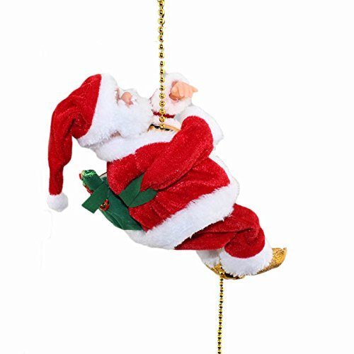 amazoncom haktoys battery operated lovely climbing santa claus christmas ornament present 9 decoration enjoyable gift toy climbs up and down with