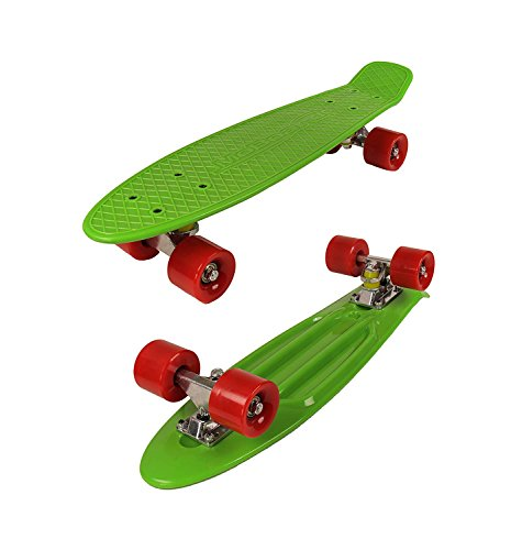 MoBoard Graphic Complete Skateboard   Pro/Beginner   Metal Bearings   22 Inch Vintage Style with Interchangeable Wheels (Green/Red)