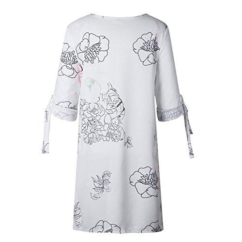 189bd8386df11 BienBien Donna Vestito Da Giorno Eleganti Estivi Corti Abito Manica 3  4  Camicia Vestiti