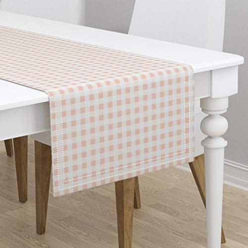 Table Runner - Gingham Blush Peach Summer Picnic Plaid Check by Charlottewinter - Cotton Sateen Table Runner 16 x 108