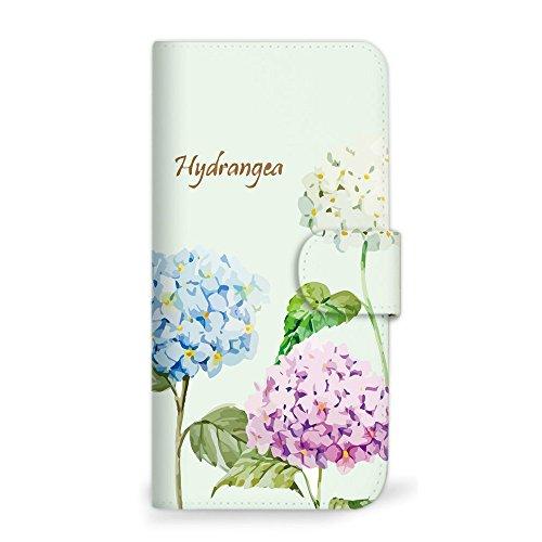 引っ張るボクシングホバーmitas iPhone7 ケース 手帳型  アジサイ あじさい 紫陽花 花 花柄 花がら フラワー グリーン (249) SC-0199-GR/iPhone7