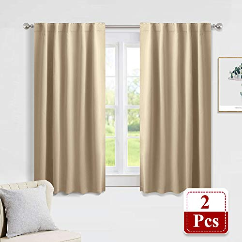 PONY DANCE Blackout Window Treatments - Heavy-Duty Soft Back Loop/Rod Pocket Draperies for Home Decoration Energy Saving Noise Reducing for Kids' Living Room, W 42