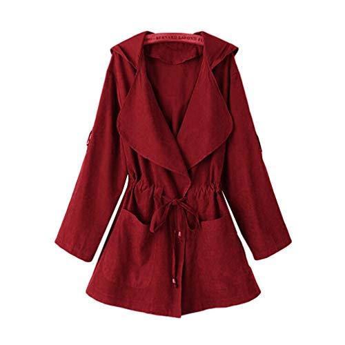 Suelta Rojo Coat Capucha Jack Casual Mujer Elástica Outwear De Vino Kimono Bolsillo Chaqueta Cintura Larga Yying Otoño Con Manga UwZE8nqx5p