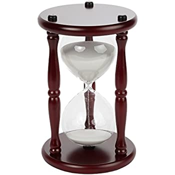 Lily's Home 60-Minute Hourglass Sand Timer with Cherry Finished Wood Base, Stylish Centerpiece for Home or Office Use, Ideal Gift for Executive, Chef or Kitchen Connoisseur (9.5