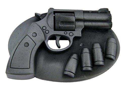 (Hand & Bullets Metal Belt Buckle Pistol Revolver New)