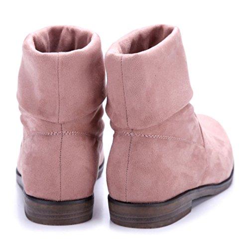 Schuhtempel24 Damen Schuhe Flache Stiefeletten Stiefel Boots Flach Schlupf 2 cm Rosa