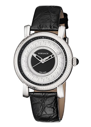 Versace Women's VQ9020014 Day Glam Black Dial Black Leather Wristwatch
