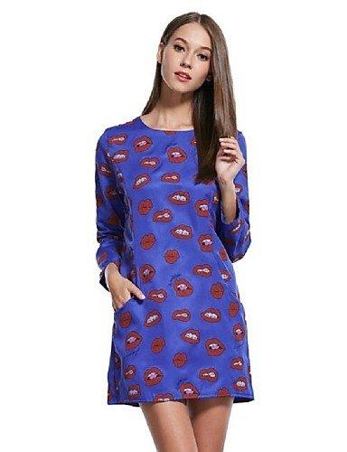 PU&PU Robe Aux femmes Ample Mignon / Street Chic,Imprimé Col Arrondi Au dessus du genou Polyester , blue-m , blue-m