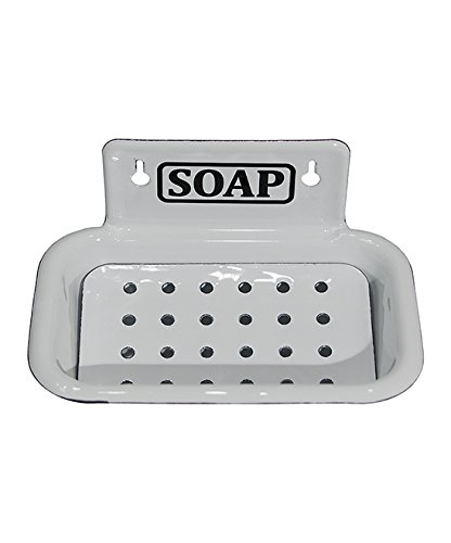 Wall Mounted Enamel White Soap Dish with Drainage Holes