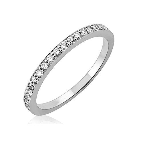 IGI Certified 14k White Gold Wedding Diamond Band Ring (1/4 Carat) Size 10