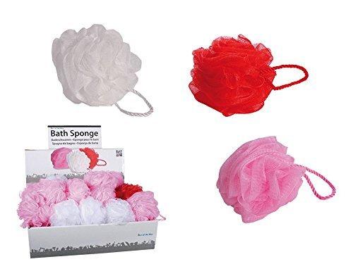 6De Baño knäuel 12cm de baño esponjas, por 2en rosa, rojo y blanco hibuy