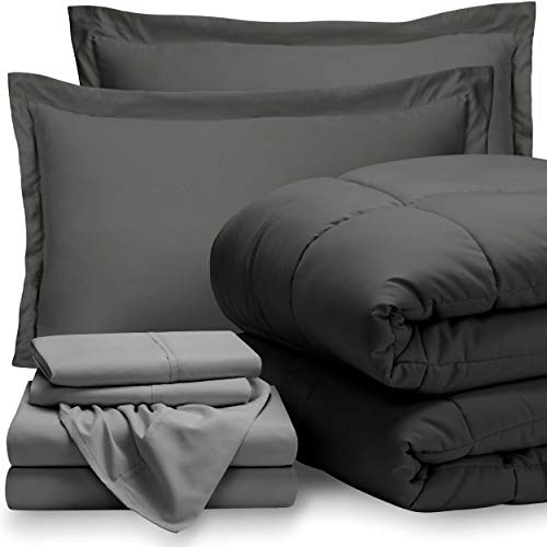 Bare Home Bed-in-A-Bag 7 Piece Comforter & Sheet Set - California King - Goose Down Alternative - Ultra-Soft 1800 Premium - Hypoallergenic - Bare Breathable Bedding (Cal King, Grey/Light Grey)