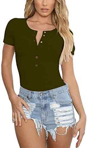 5db31f7b84a9 PARPERNA Womens Bodysuits Knitted Ribbed Stretchy Bodysuits Short Sleeve  Basic Solid Button Down Jumpsuits Romper Leotard