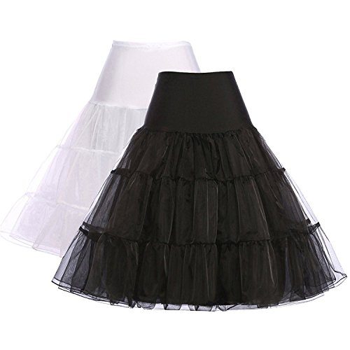 Party Midi Black Petticoat Tutu for Vintage Skirts (L,Black+White,2Pack)