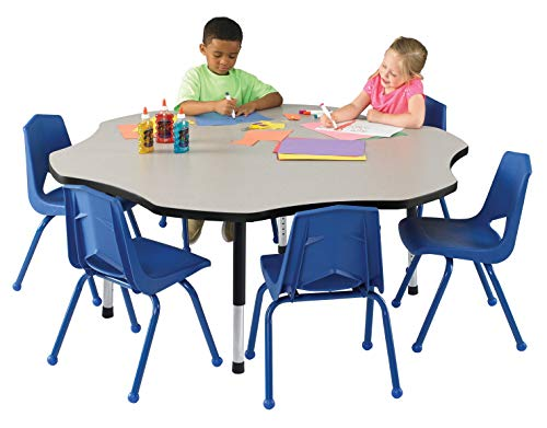 Classroom Select Apollo T-Mold Adjustable Table, Flower, 60 Inches, Top Color: Bannister Oak/Edge Color: Black