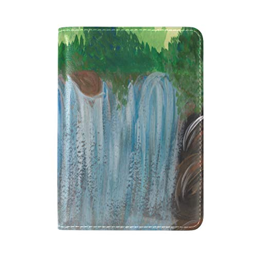Zlu Gouache-landscape-painting-blue-wild-waterfall Leather Passport Holder Cover Case Travel One Pocket