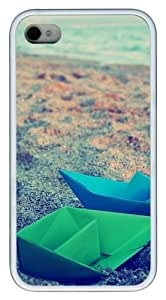 iPhone 4S Case,Paper Boats Origami TPU Custom iPhone 4/4S Case Cover Whtie