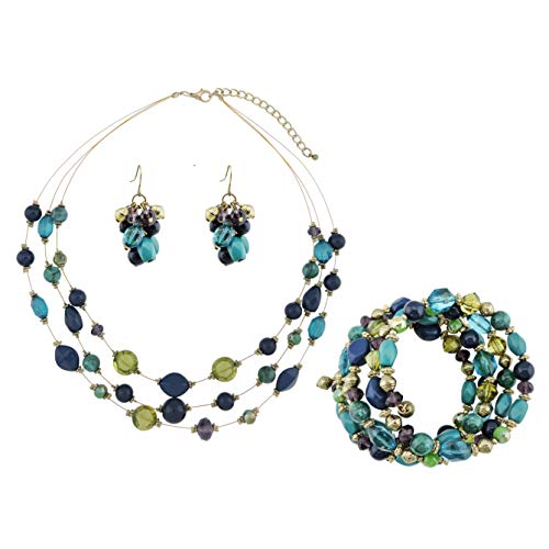 COIRIS 3 Layer Illusion Wire Statement Necklace Set for Women Blue Green Beaded Bracelet Earrings Set (ST0001)