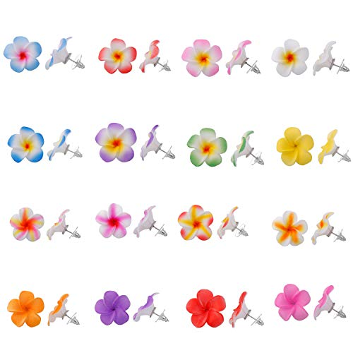 (YOUBAMI Mini Hawaiian Plumeria Foam Flower Stud Earrings for Women Girls Accessories Set of 16 Pairs (1 inch Plumeria Earrings))