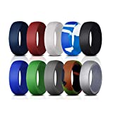 Oyaface Silicone Rings 10 Pack Ring Wedding Bands for Men - 8.7 mm Wide Antibacterial Comfortable Durable