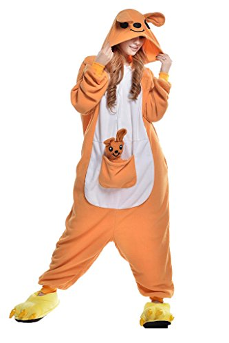 NEWCOSPLAY Unisex Adult Animal Pajamas Halloween Costume (XL, Kangaroo)]()
