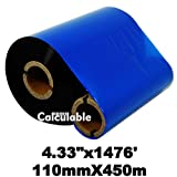 Calculable 4.33''x1476' (110mmx450m) Thermal Transfer Ribbon INK OUTSIDE Barcode Ribbons for Label, Tag, Barcode Printing Resin Enhanced Wax Ribbon for Zebra Tec Datamax Intermec CITIZEN Printer
