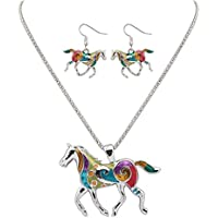 MENGDA Women Jewelry Oil Drip Rainbow Horse Pendant Necklace Earrings Set (WHITE)