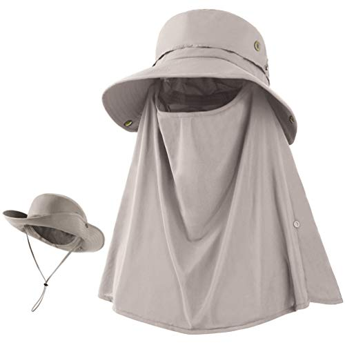 Sun Hat for Men Women Summer Outdoor Sun Protection Wide Brim Bucket Hat Breathable Mesh Fishing Hiking Beach Golf Hat Khaki