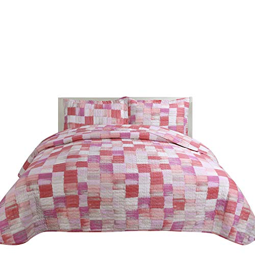 Hilin Fashion Microfiber Reversible Printing Quilt Set King Size with Shams,as Bedspread,Coverlet or Bed Cover-Soft,Lightweight and Hypoallergenic (AKAR Fuxia, King)