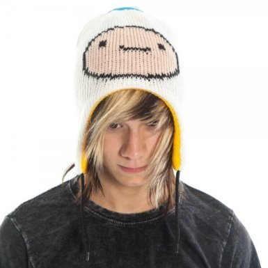 Adventure Time Jake & Finn Reversible Laplander Winter Beanie Hat (White/Yellow) (Finn Jake Costume)