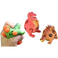 Curious Minds Busy Bags Set of 3 Mesh Dinosaur Squeeze Stress Ball - Sensory, Stress, Fidget Toy - Squishy Toy