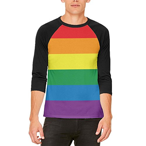 Raglan Gay Rainbow Flag - Old Glory Rainbow Gay Pride Flag Mens Raglan T Shirt White-Black MD