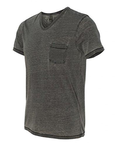 19 Seventies Jersey Burnout Leo V-Neck T-Shirt - Coal - Medium (70s Men Clothes)
