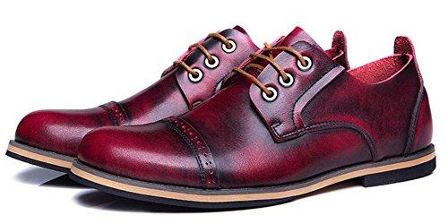 Jiye Hommes En Cuir Véritable Oxfords Chaussures Vin