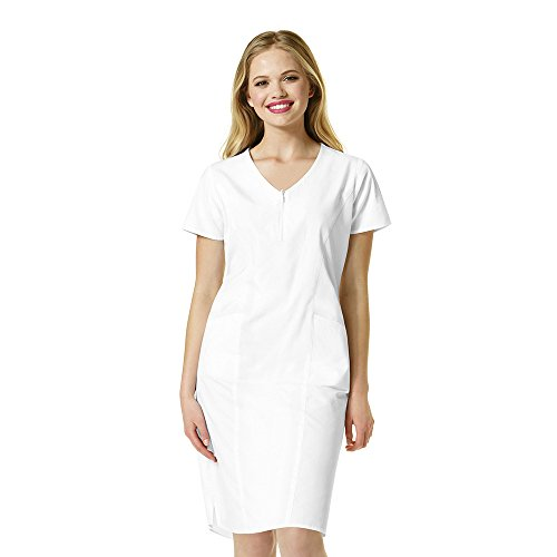 WonderWink Women's Zip Front Dress, White, Medium