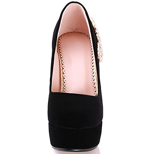 Shoes Toe Pumps Platform Bridal Party Women LongFengMa Black Block Round Heeled anU7f