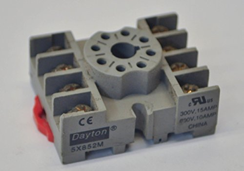 Dayton Electric DIN Rail Mount 300V 8 Pin Relay Socket 5X852M