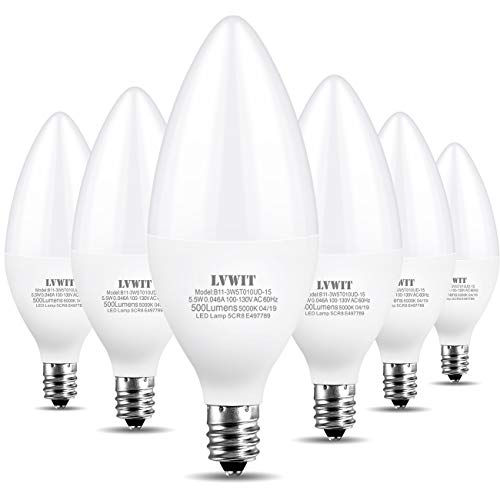B11 LED Bulbs E12 Candelabra Small Base 5000K Daylight, LVWIT 5.5W(60W Equivalent), Non-Dimmable Decorative Candle Light Bulb, ()