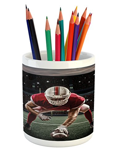 (Lunarable Sports Pencil Pen Holder, Sports Team Players on Scrimmage Line Stadium Arena Tackle Touchdown, Printed Ceramic Pencil Pen Holder for Desk Office Accessory, Red White Olive Green)