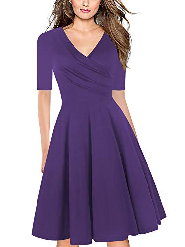 oxiuly Women's Vintage Criss-Cross Half Sleeve Casual Dress Cocktail Party Work Swing Plus Dress LH233 (XXL, Solid Purple 5) ()