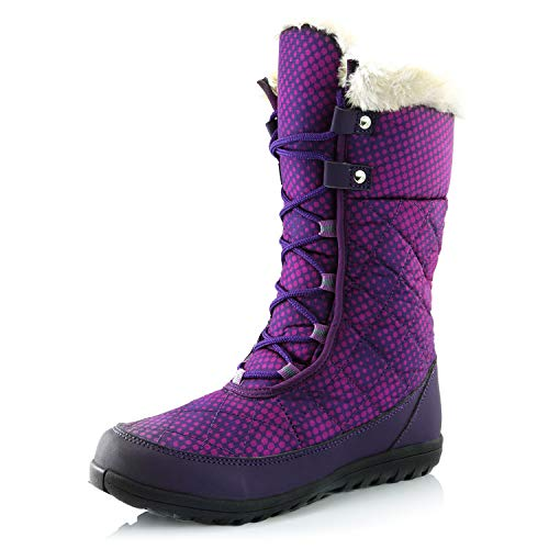 (DailyShoes Women's Comfort Round Toe Mid Calf Flat Ankle High Eskimo Winter Fur Snow Boots, 9 )