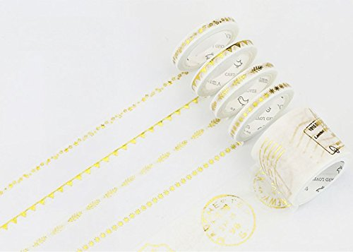 Bblythe 10 Rolls Gilding Washi Tape Flower Masking Tape Sticky Paper Tape for DIY, Decorative Craft, Gift Wrapping, Scrapbook Washi Tapes Glitter Adhesive Tapes Gold Star Trails Postmark
