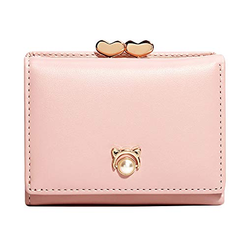(gu6uesa8n Women Short Trifold Leather Wallet with Buckle Fashion Small Double Heart Kiss Lock Coin Purse - Pink)
